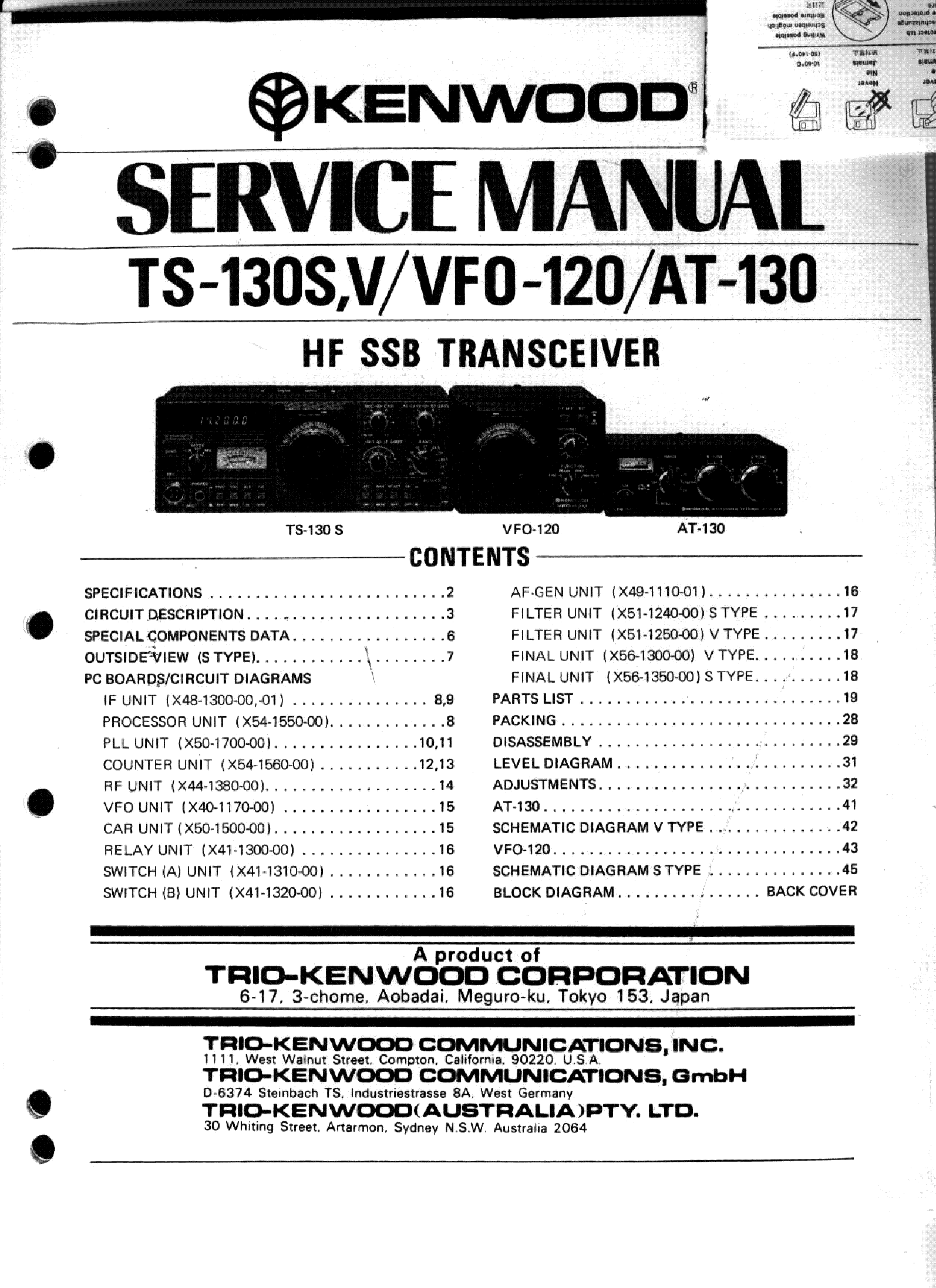 kenwood ts 130 service manual