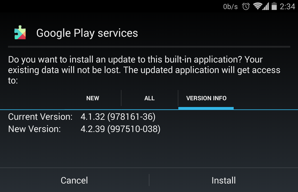 manually update google play services