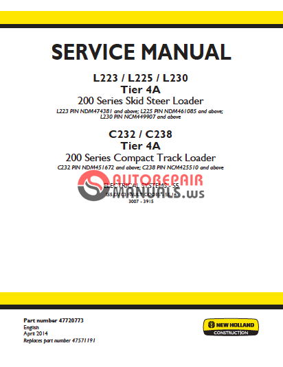 new holland c238 owners manual